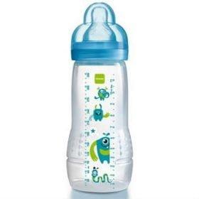 MAM sutteflasken ligger godt i hånden og er let at genopfylde. 4 mdr+, 330 ml