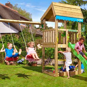 Jungle Gym Home legetårn med grøn rutsjebane, sandkasse og gyngestativ