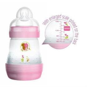 MAM First Bottle 160 ml. sutteflaske, BPA fri, 80% mindre kolik! Pige