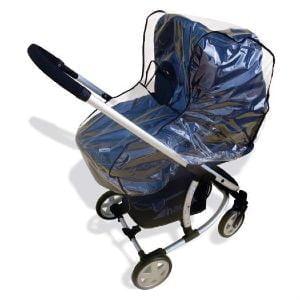 Gennemsigtigt regnslag der beskytter børn og vogn mod vind og vejr